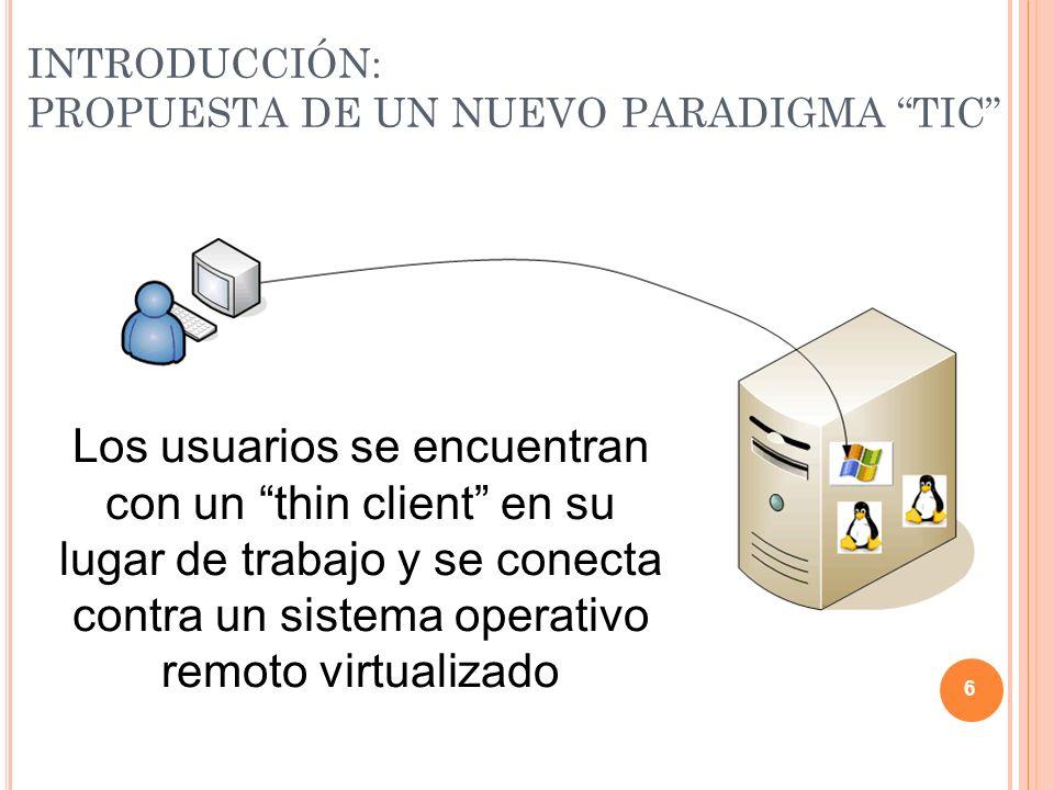 PRINCIPALES VENTAJAS APORTADAS: IMPACTO MEDIOAMBIENTAL Modelo actualModelo presentado DispositivoConsumo [W]DispositivoConsumo [W] Ordenador200Ordenador (TC)20 Servidor remoto81,25 AC (COP 3.0)27,08333333 Total Consumo200Total Consumo128,3333333 17 Consumo energético: Residuos electrónicos: reducción debido al reaprovechamiento de dispositivos antiguos reutilizados como Thin-clients