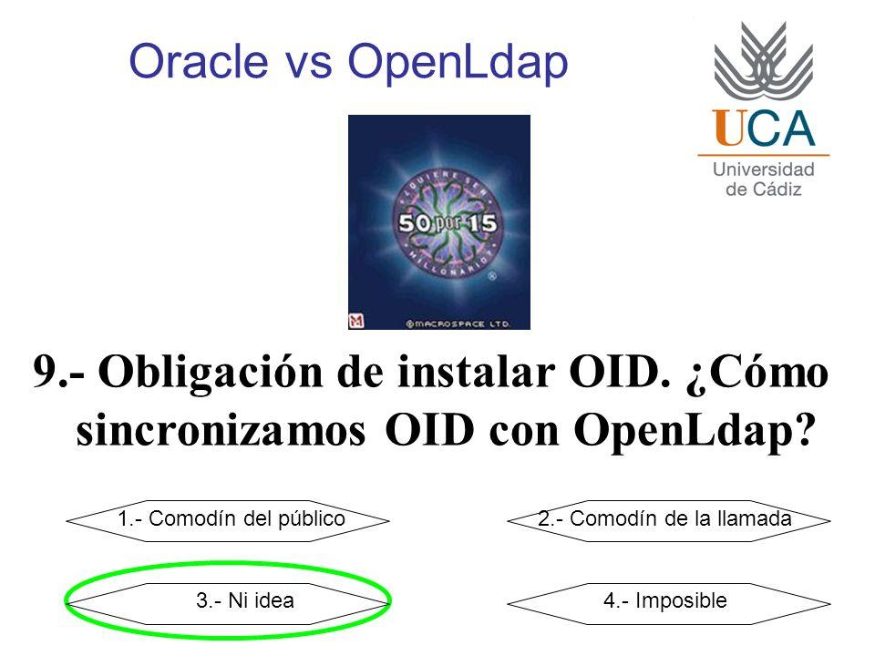 Oracle vs OpenLdap 9.- Obligación de instalar OID. ¿Cómo sincronizamos OID con OpenLdap? 1.- Comodín del público2.- Comodín de la llamada 3.- Ni idea4