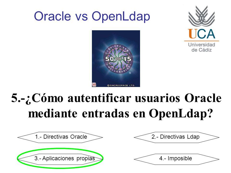 Oracle vs OpenLdap 5.-¿Cómo autentificar usuarios Oracle mediante entradas en OpenLdap? 1.- Directivas Oracle2.- Directivas Ldap 3.- Aplicaciones prop