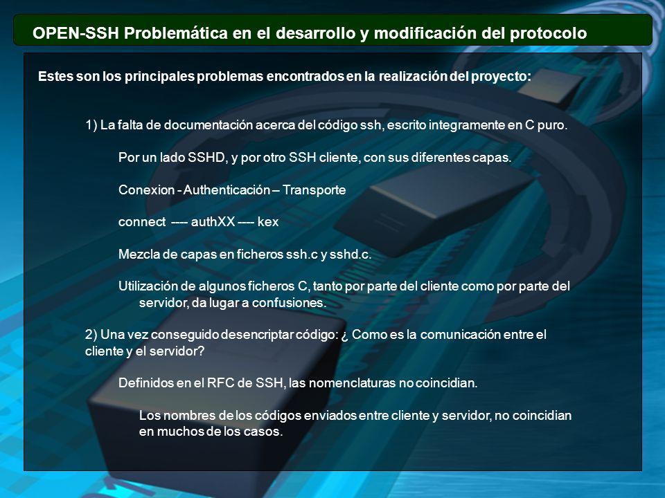 OPEN-SSH Problemática en el desarrollo y modificación del protocolo Estes son los principales problemas encontrados en la realización del proyecto: 1)