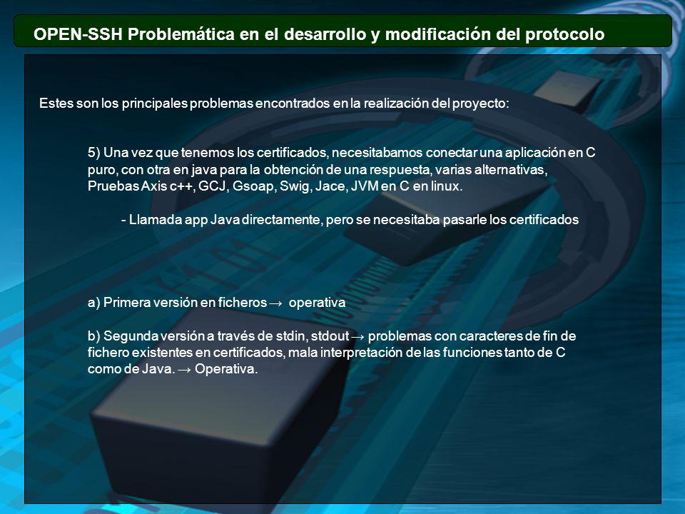 OPEN-SSH Problemática en el desarrollo y modificación del protocolo Estes son los principales problemas encontrados en la realización del proyecto: 5)
