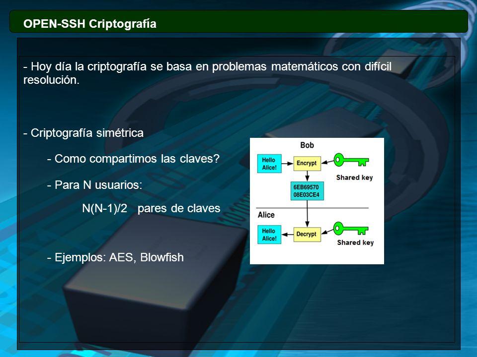 OPEN-SSH Criptografía - Criptografía asimétrica - 2 Claves: Una pública y otra privada.