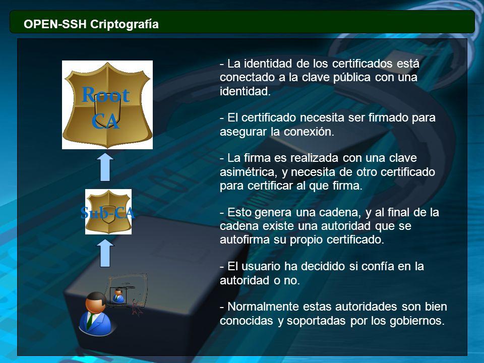 OPEN-SSH Criptografía - La identidad de los certificados está conectado a la clave pública con una identidad. - El certificado necesita ser firmado pa