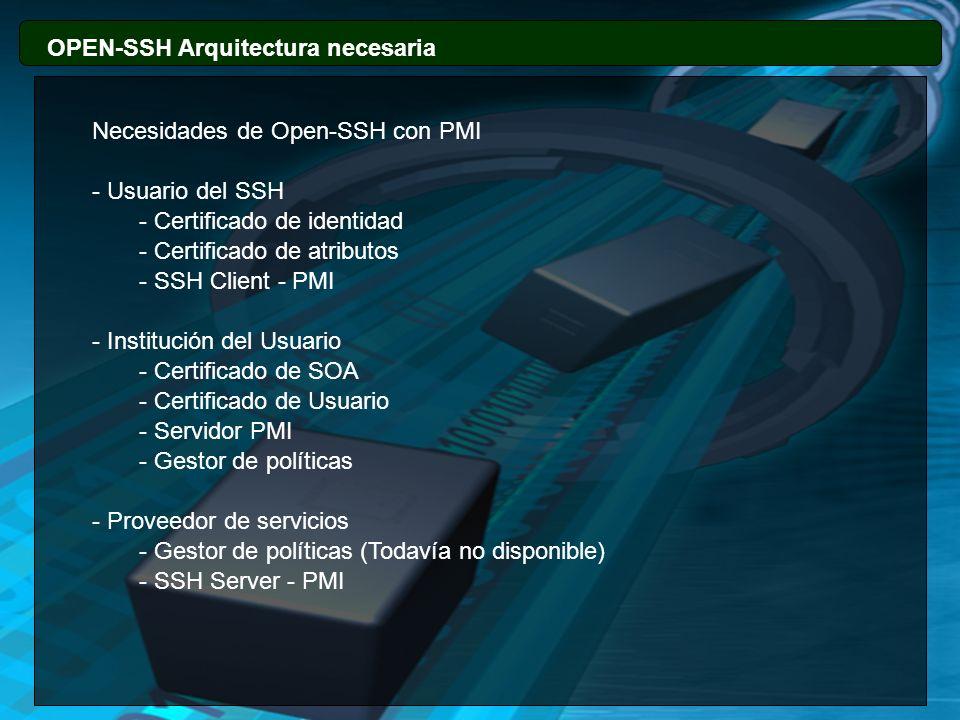 OPEN-SSH Arquitectura necesaria Necesidades de Open-SSH con PMI - Usuario del SSH - Certificado de identidad - Certificado de atributos - SSH Client -