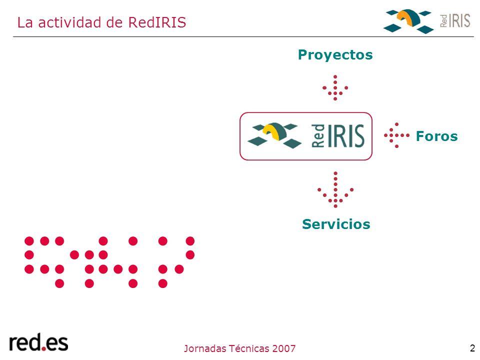 2Jornadas Técnicas 2007 La actividad de RedIRIS Proyectos Foros Servicios