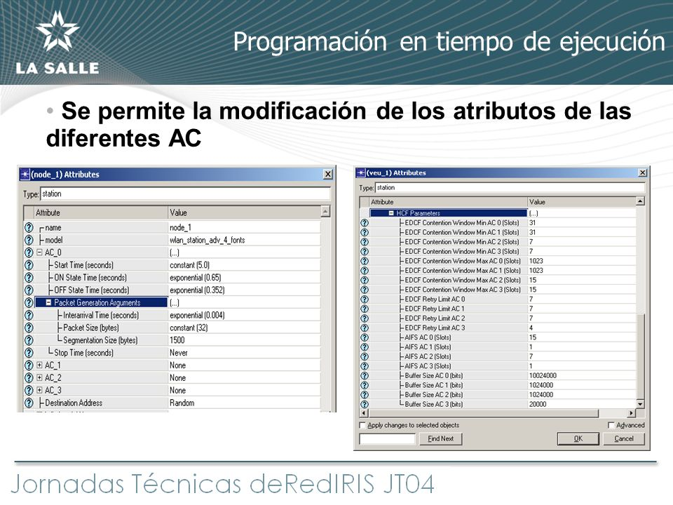 Programación en tiempo de ejecución Se permite la modificación de los atributos de las diferentes AC