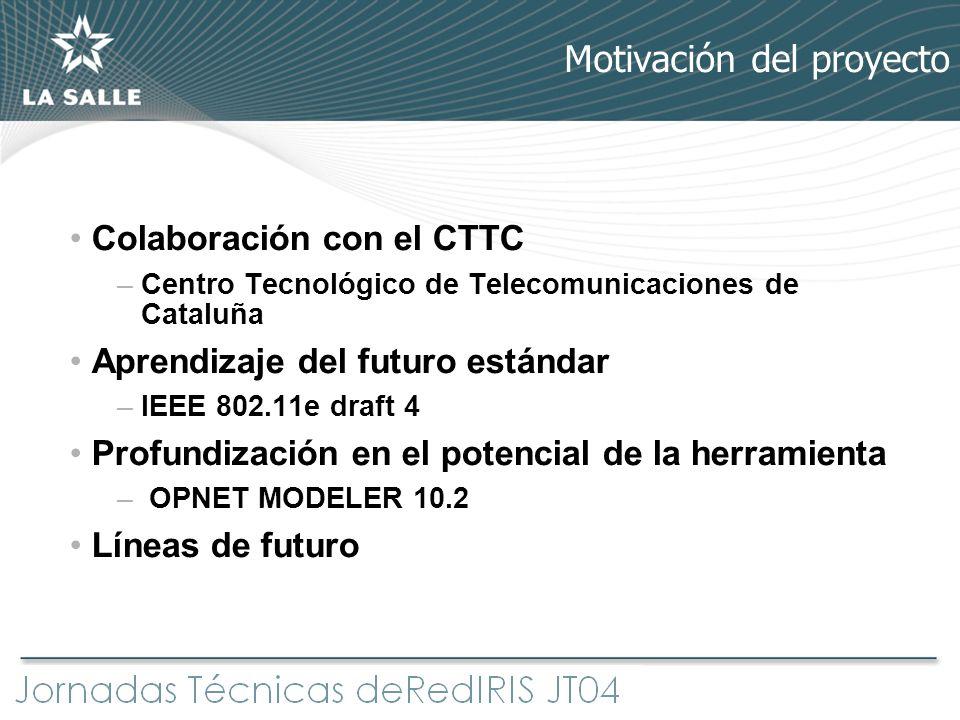 Colaboración con el CTTC –Centro Tecnológico de Telecomunicaciones de Cataluña Aprendizaje del futuro estándar –IEEE 802.11e draft 4 Profundización en