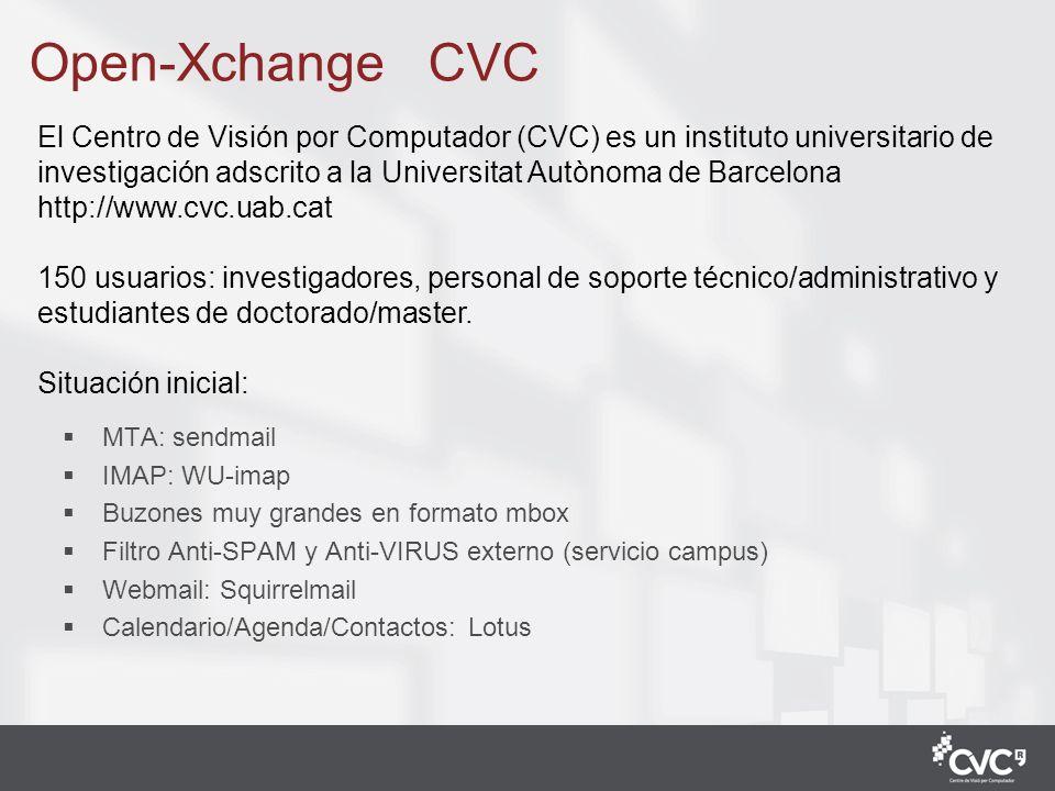 1 Open-Xchange CVC MTA: sendmail IMAP: WU-imap Buzones muy grandes en formato mbox Filtro Anti-SPAM y Anti-VIRUS externo (servicio campus) Webmail: Sq
