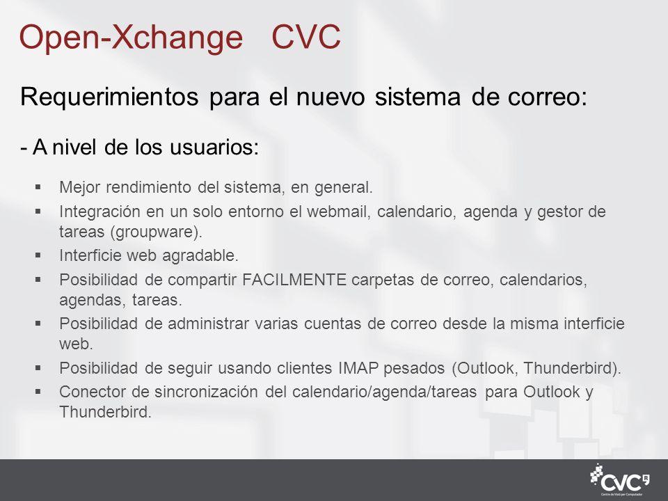 2 Open-Xchange CVC - A nivel de los usuarios: Mejor rendimiento del sistema, en general. Integración en un solo entorno el webmail, calendario, agenda