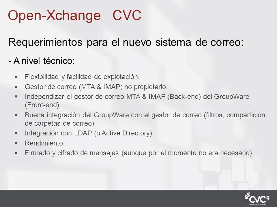 4 LDAP: Open-LDAP Back-end: MTA: postfix IMAP: Cyrus (…migración mbox to Cyrus maildir) Filtro Anti-SPAM y Anti-VIRUS externo (servicio campus) Front-end (GroupWare): Open-Xchange Open-Xchange CVC Analizamos los requerimientos de los usuarios y nuestras preferencias técnicas, y llegamos a esta nueva situación: