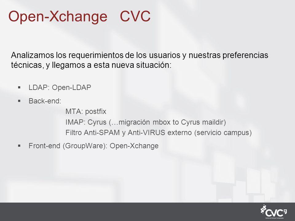 4 LDAP: Open-LDAP Back-end: MTA: postfix IMAP: Cyrus (…migración mbox to Cyrus maildir) Filtro Anti-SPAM y Anti-VIRUS externo (servicio campus) Front-