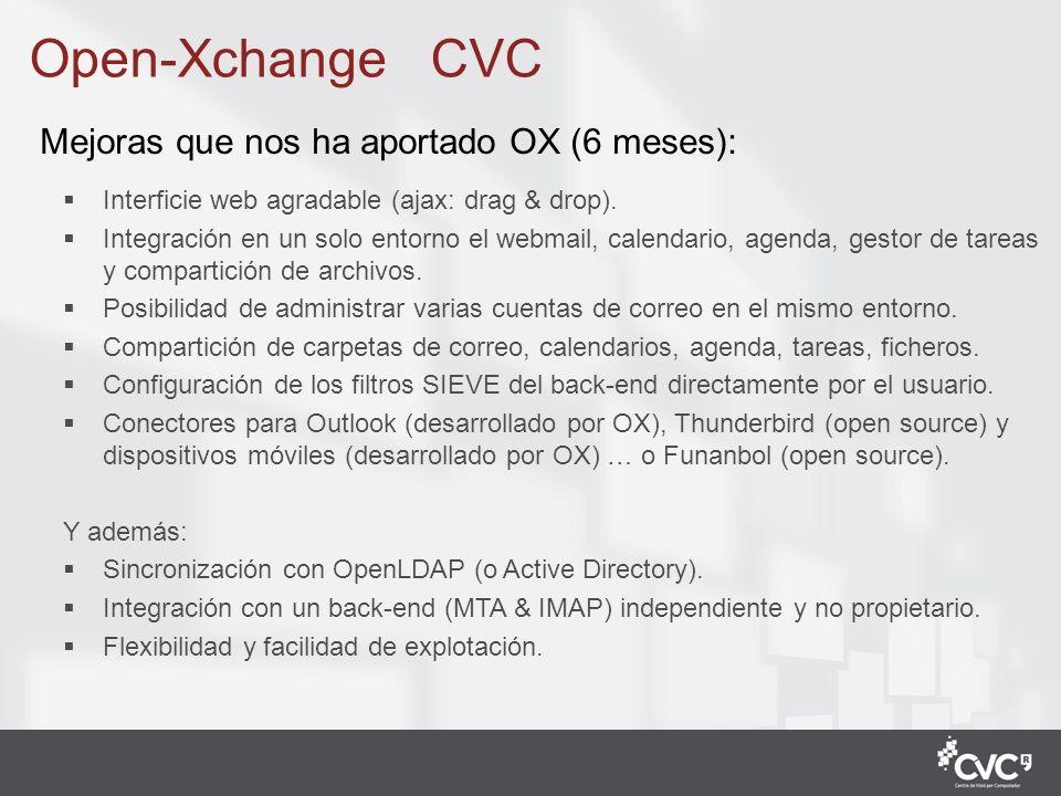 5 Mejoras que nos ha aportado OX (6 meses): Interficie web agradable (ajax: drag & drop). Integración en un solo entorno el webmail, calendario, agend