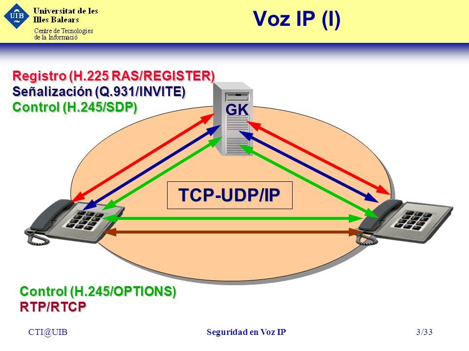 CTI@UIBSeguridad en Voz IP4/33 GW GK Voz IP (II)TCP-UDP/IP PBX Control (H.245/OPTIONS) RTP/RTCP Registro (H.225 RAS/REGISTER) Señalización (Q.931/INVITE) Control (H.245/SDP)
