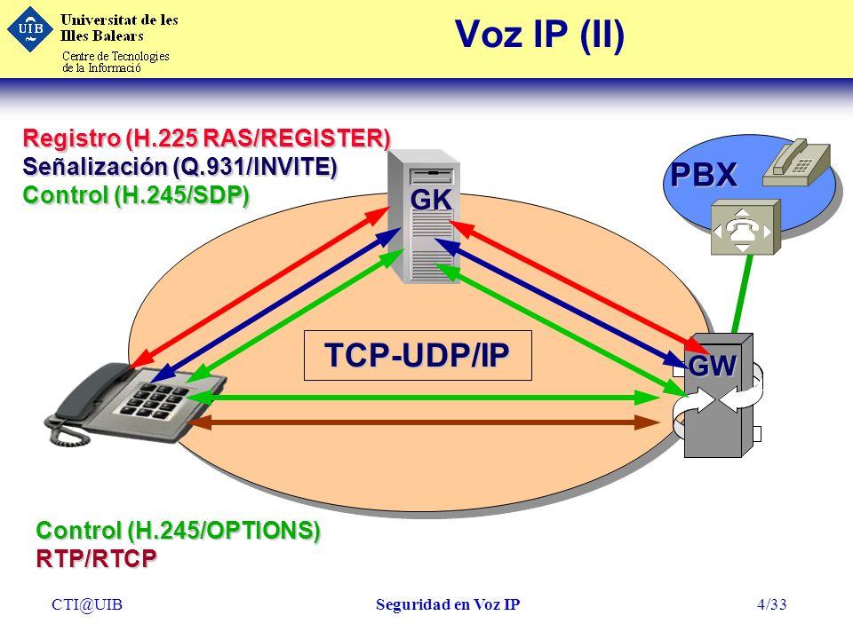 CTI@UIBSeguridad en Voz IP25/33 ClientProxy Ataques OperacionalesInternet GW Intranet PBX Protocolos Protocolos Ethernet Ethernet WLAN WLAN IP Routing IP Routing Multicast Multicast TCP/UDP TCP/UDP NetBIOS NetBIOS Proteger Servicios Proteger Protocolo s GK