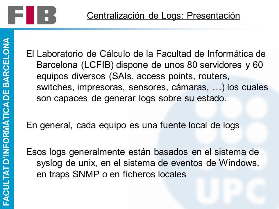 FACULTAT DINFORMÀTICA DE BARCELONA Centralización de Logs: Presentación El Laboratorio de Cálculo de la Facultad de Informática de Barcelona (LCFIB) d
