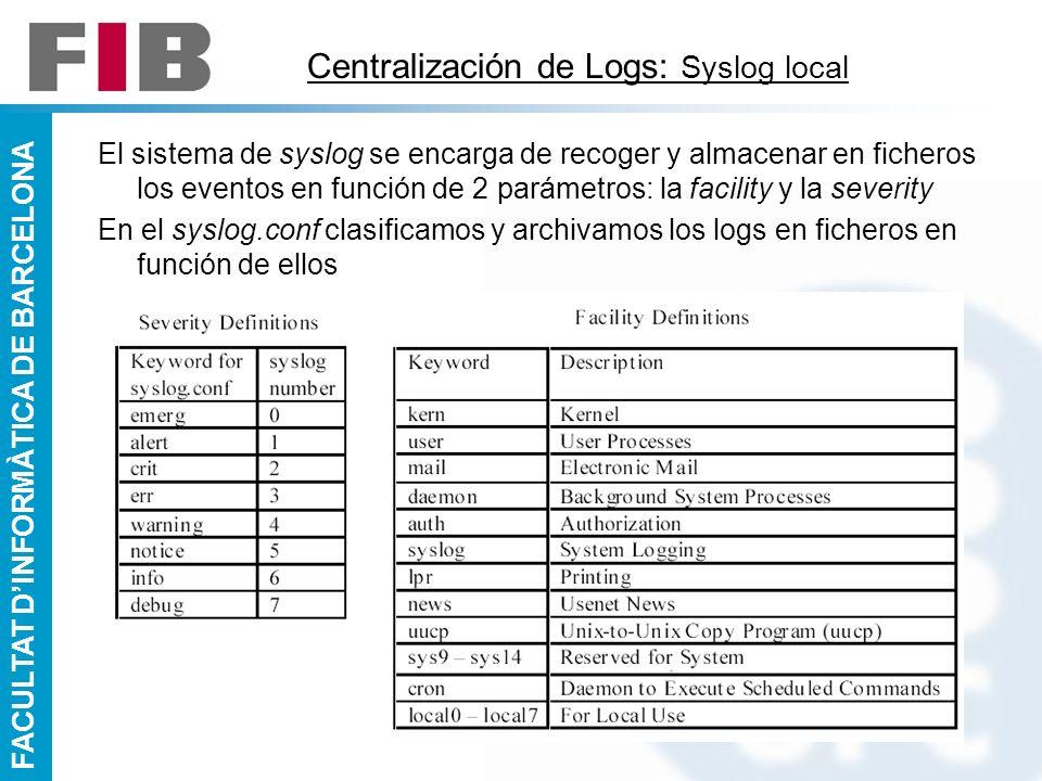 FACULTAT DINFORMÀTICA DE BARCELONA Centralización de Logs: Syslog local El sistema de syslog se encarga de recoger y almacenar en ficheros los eventos