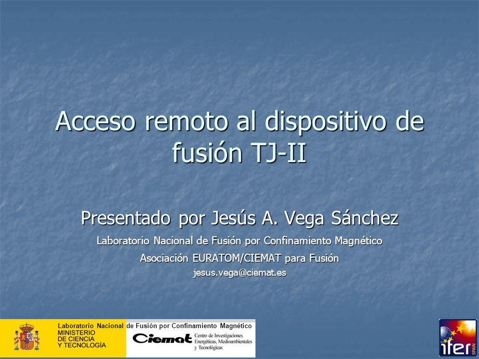 Acceso remoto al dispositivo de fusión TJ-II Presentado por Jesús A. Vega Sánchez Laboratorio Nacional de Fusión por Confinamiento Magnético Asociació