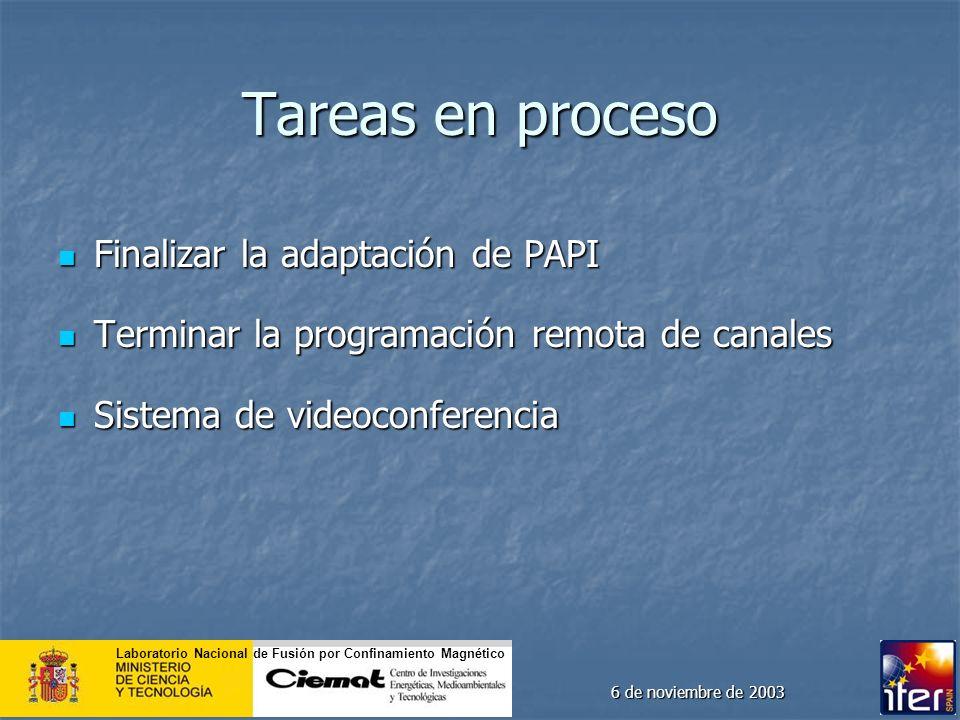 Laboratorio Nacional de Fusión por Confinamiento Magnético 6 de noviembre de 2003 Tareas en proceso Finalizar la adaptación de PAPI Finalizar la adapt