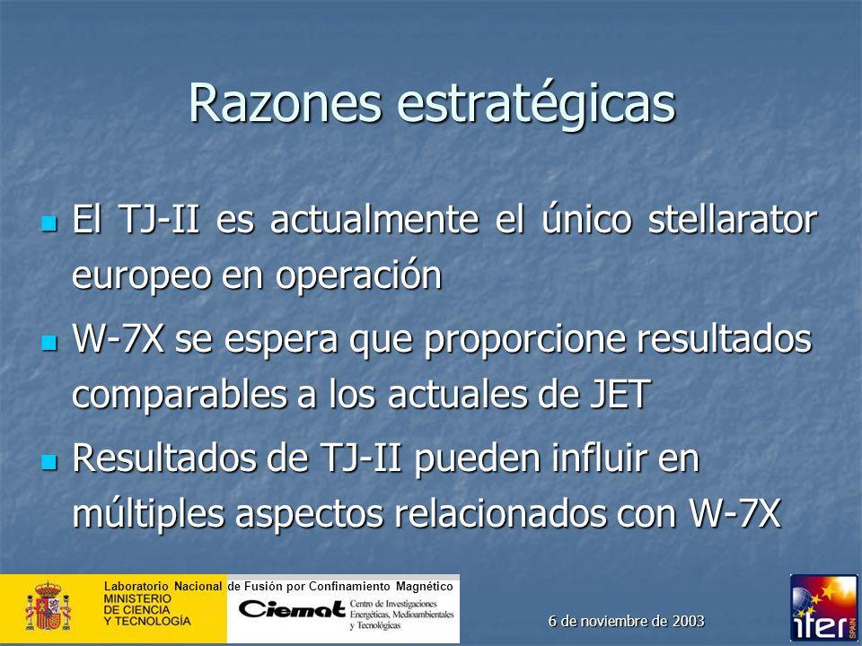 Laboratorio Nacional de Fusión por Confinamiento Magnético 6 de noviembre de 2003 Razones estratégicas El TJ-II es actualmente el único stellarator eu