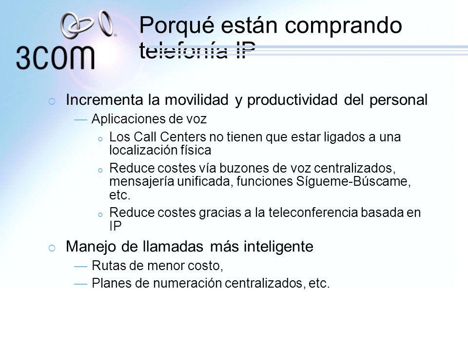 Porqué están comprando telefonía IP Incrementa la movilidad y productividad del personal Aplicaciones de voz Los Call Centers no tienen que estar liga