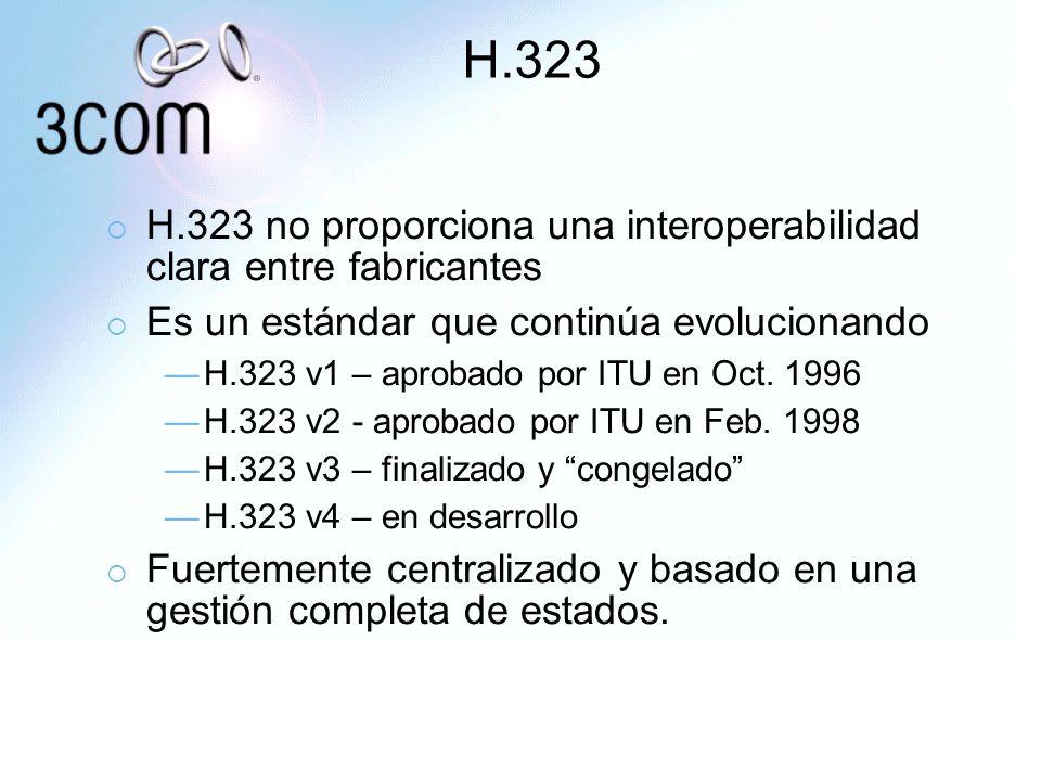 H.323 H.323 no proporciona una interoperabilidad clara entre fabricantes Es un estándar que continúa evolucionando H.323 v1 – aprobado por ITU en Oct.