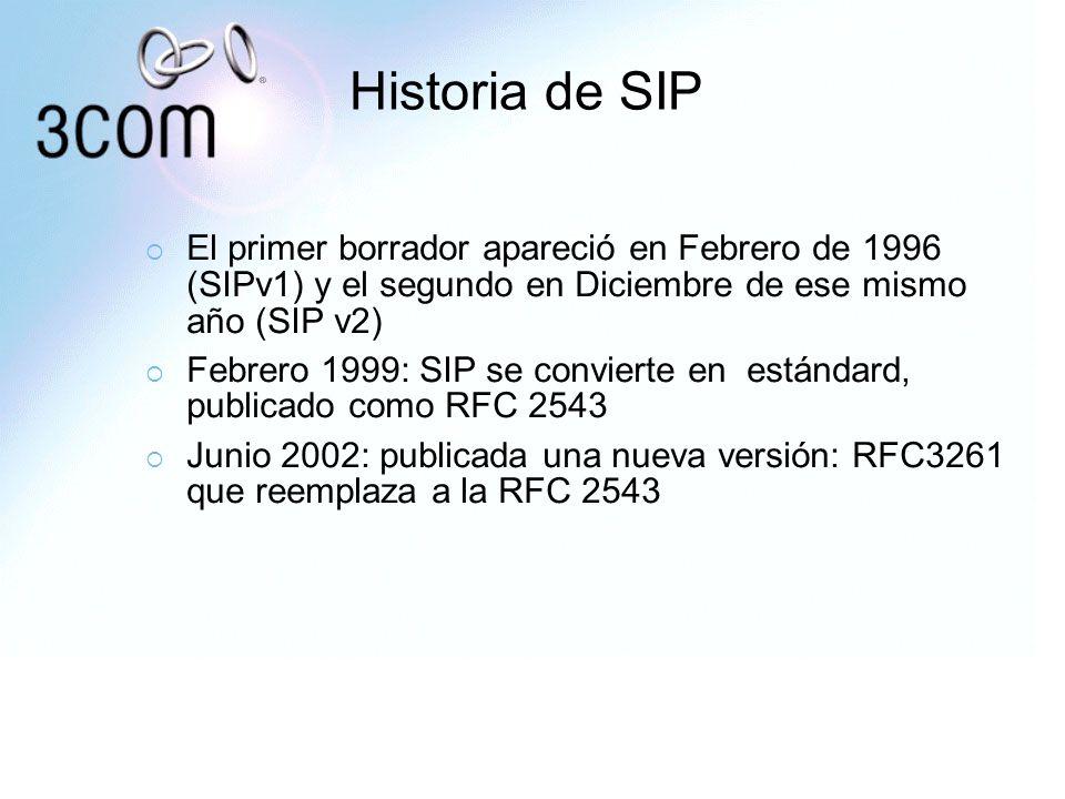 Historia de SIP El primer borrador apareció en Febrero de 1996 (SIPv1) y el segundo en Diciembre de ese mismo año (SIP v2) Febrero 1999: SIP se convie