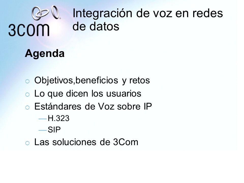 Integración de voz en redes de datos Agenda Objetivos,beneficios y retos Lo que dicen los usuarios Estándares de Voz sobre IP H.323 SIP Las soluciones
