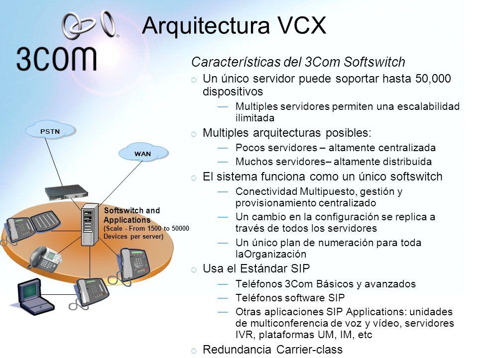 Arquitectura VCX Características del 3Com Softswitch Un único servidor puede soportar hasta 50,000 dispositivos Multiples servidores permiten una esca