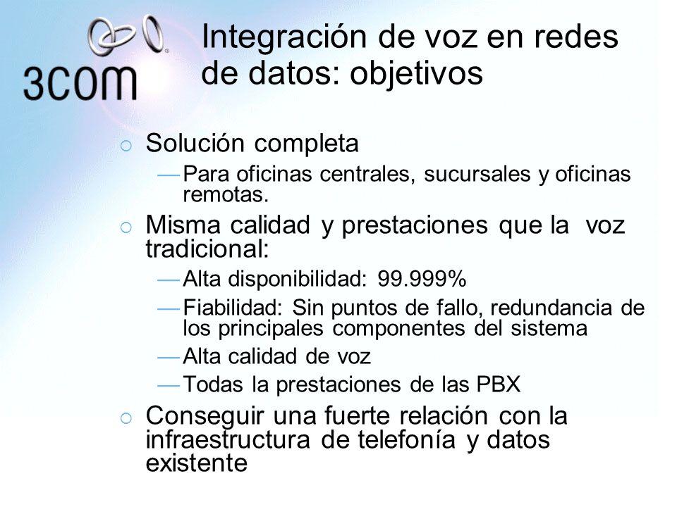 Integración de voz en redes de datos: objetivos Solución completa Para oficinas centrales, sucursales y oficinas remotas. Misma calidad y prestaciones