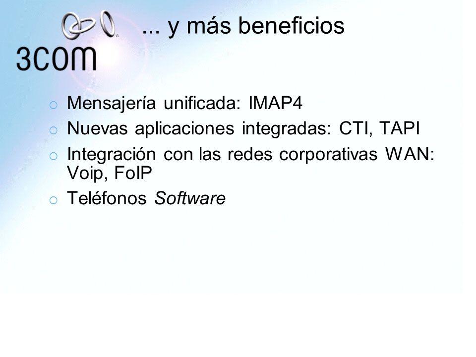 ... y más beneficios Mensajería unificada: IMAP4 Nuevas aplicaciones integradas: CTI, TAPI Integración con las redes corporativas WAN: Voip, FoIP Telé