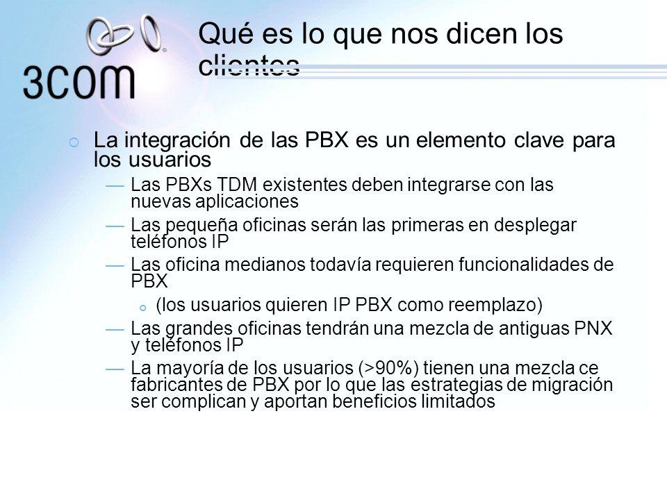 Qué es lo que nos dicen los clientes La integración de las PBX es un elemento clave para los usuarios Las PBXs TDM existentes deben integrarse con las