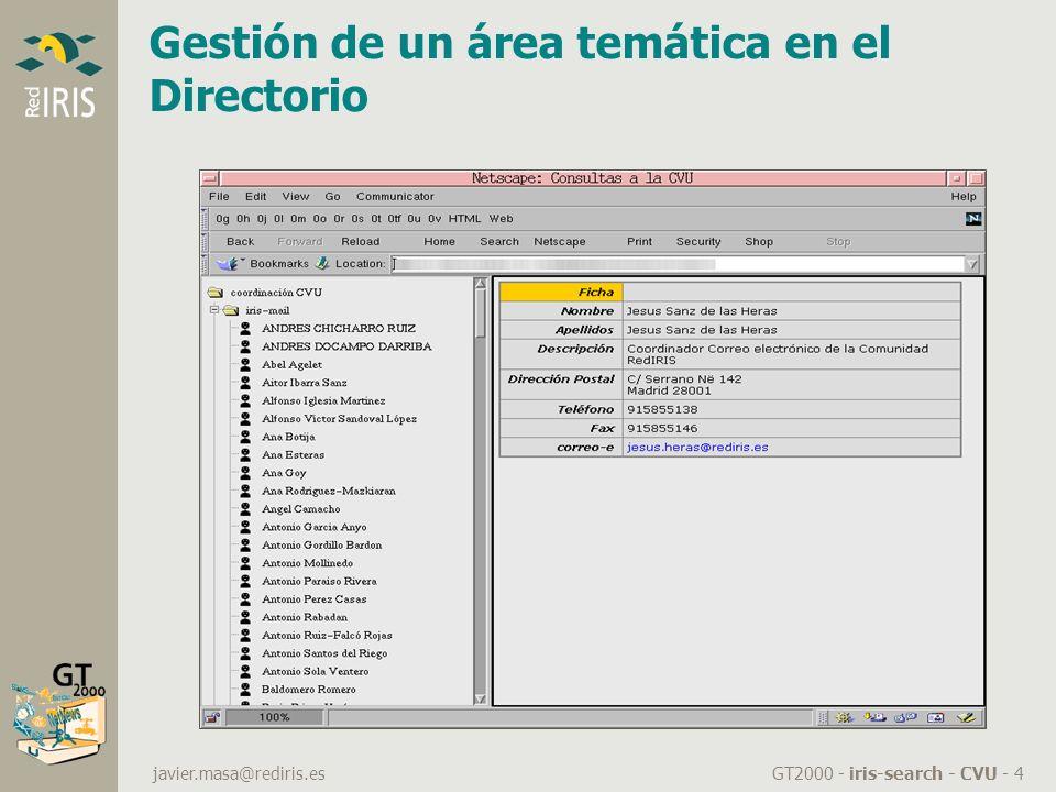GT2000 - iris-search - CVU - 4 javier.masa@rediris.es Gestión de un área temática en el Directorio