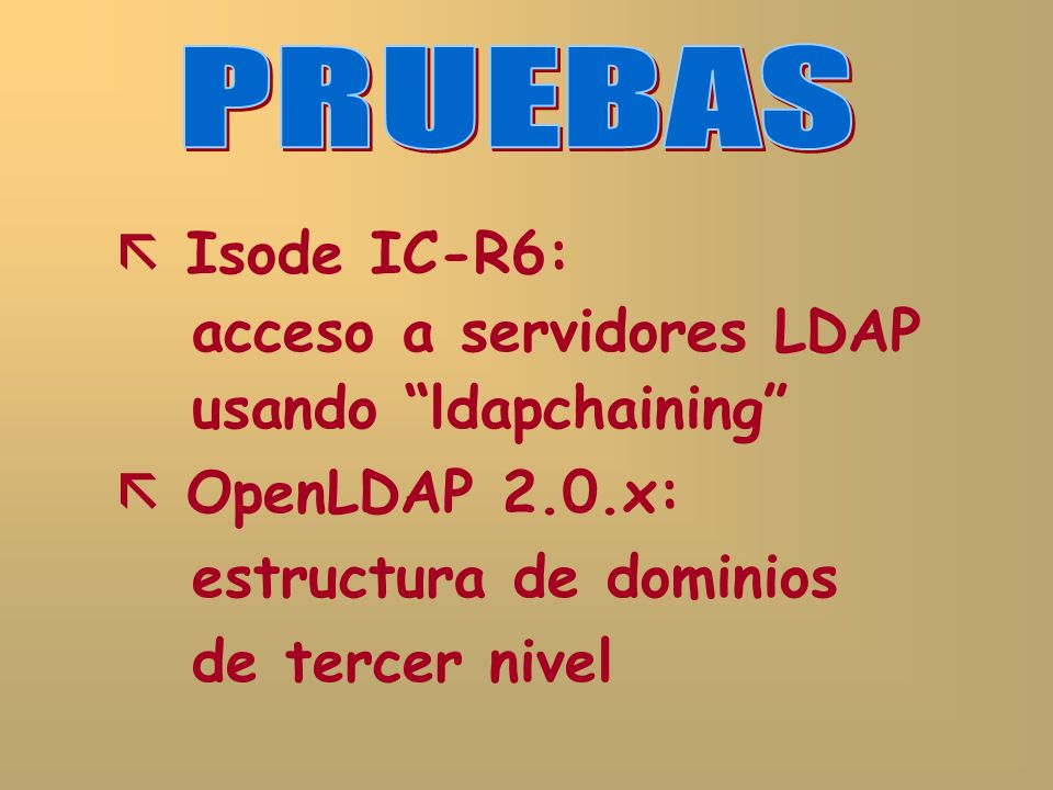 Isode IC-R6: acceso a servidores LDAP usando ldapchaining OpenLDAP 2.0.x: estructura de dominios de tercer nivel