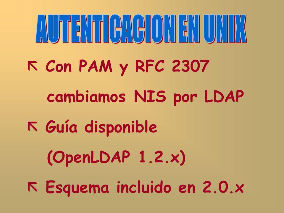 Con PAM y RFC 2307 cambiamos NIS por LDAP Guía disponible (OpenLDAP 1.2.x) Esquema incluido en 2.0.x