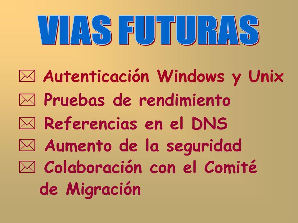 Autenticación Windows y Unix Pruebas de rendimiento Referencias en el DNS Aumento de la seguridad Colaboración con el Comité de Migración