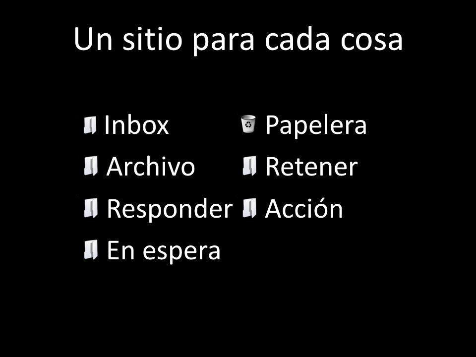 Inbox Archivo Responder En espera Papelera Retener Acción Un sitio para cada cosa