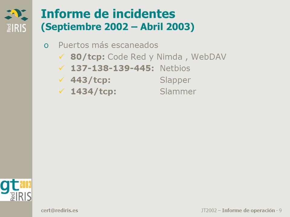 JT2002 – Informe de operación - 9cert@rediris.es Informe de incidentes (Septiembre 2002 – Abril 2003) oPuertos más escaneados 80/tcp: Code Red y Nimda, WebDAV 137-138-139-445:Netbios 443/tcp: Slapper 1434/tcp:Slammer
