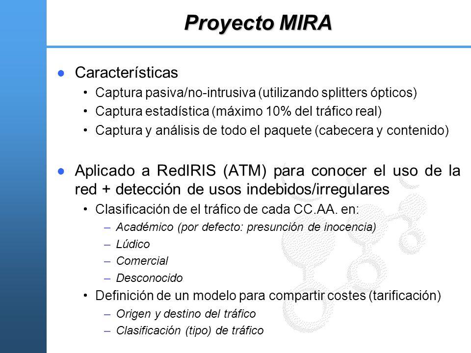 Proyecto MIRA Características Captura pasiva/no-intrusiva (utilizando splitters ópticos) Captura estadística (máximo 10% del tráfico real) Captura y a