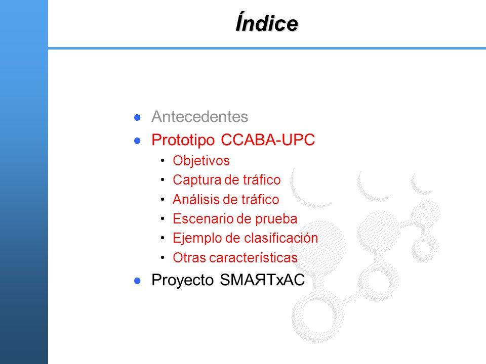 Índice Antecedentes Prototipo CCABA-UPC Objetivos Captura de tráfico Análisis de tráfico Escenario de prueba Ejemplo de clasificación Otras caracterís