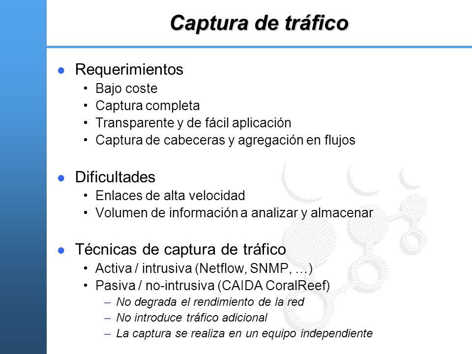 Captura de tráfico Requerimientos Bajo coste Captura completa Transparente y de fácil aplicación Captura de cabeceras y agregación en flujos Dificulta