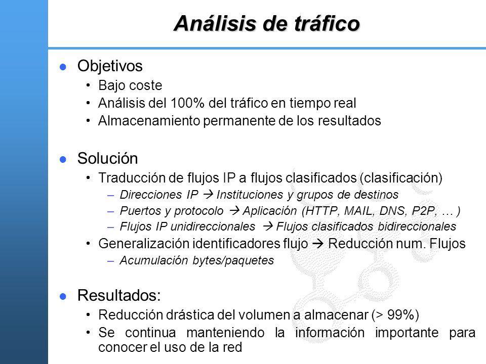 Análisis de tráfico Objetivos Bajo coste Análisis del 100% del tráfico en tiempo real Almacenamiento permanente de los resultados Solución Traducción