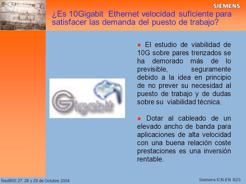 RedIRIS 27, 28 y 29 de Octubre 2004 ¿Es 10Gigabit Ethernet velocidad suficiente para satisfacer las demanda del puesto de trabajo? El estudio de viabi