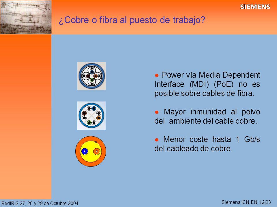 RedIRIS 27, 28 y 29 de Octubre 2004 Power vía Media Dependent Interface (MDI) (PoE) no es posible sobre cables de fibra. Mayor inmunidad al polvo del