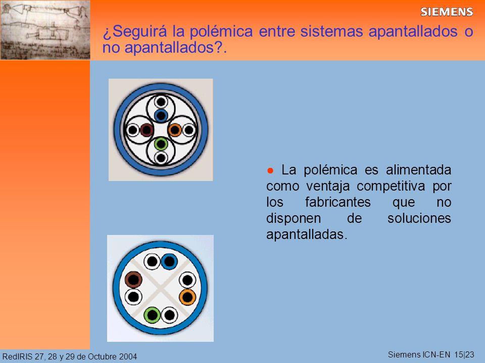 RedIRIS 27, 28 y 29 de Octubre 2004 La polémica es alimentada como ventaja competitiva por los fabricantes que no disponen de soluciones apantalladas.