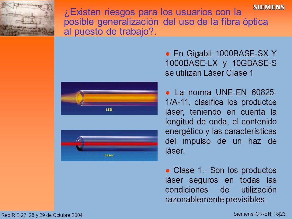 RedIRIS 27, 28 y 29 de Octubre 2004 En Gigabit 1000BASE-SX Y 1000BASE-LX y 10GBASE-S se utilizan Láser Clase 1 La norma UNE-EN 60825- 1/A-11, clasifica los productos láser, teniendo en cuenta la longitud de onda, el contenido energético y las características del impulso de un haz de láser.