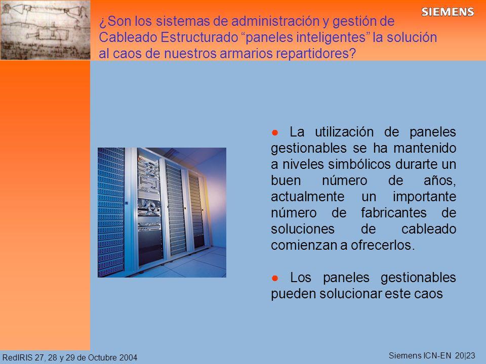 RedIRIS 27, 28 y 29 de Octubre 2004 La utilización de paneles gestionables se ha mantenido a niveles simbólicos durarte un buen número de años, actualmente un importante número de fabricantes de soluciones de cableado comienzan a ofrecerlos.