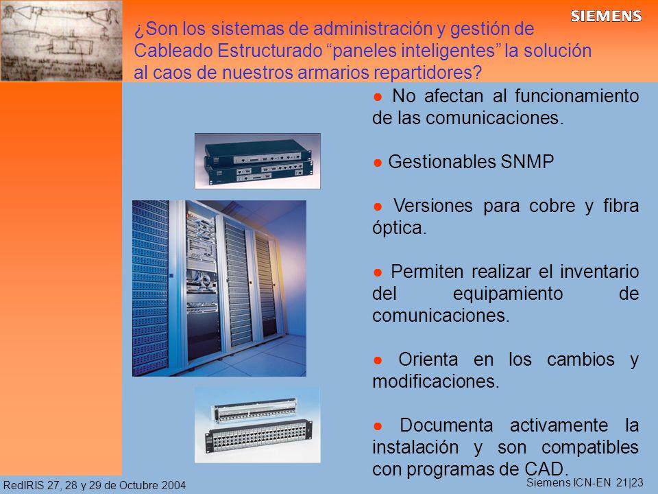 RedIRIS 27, 28 y 29 de Octubre 2004 No afectan al funcionamiento de las comunicaciones. Gestionables SNMP Versiones para cobre y fibra óptica. Permite