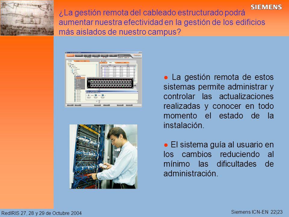 RedIRIS 27, 28 y 29 de Octubre 2004 La gestión remota de estos sistemas permite administrar y controlar las actualizaciones realizadas y conocer en todo momento el estado de la instalación.