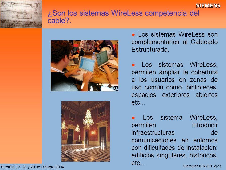 RedIRIS 27, 28 y 29 de Octubre 2004 ¿Son los sistemas WireLess competencia del cable .