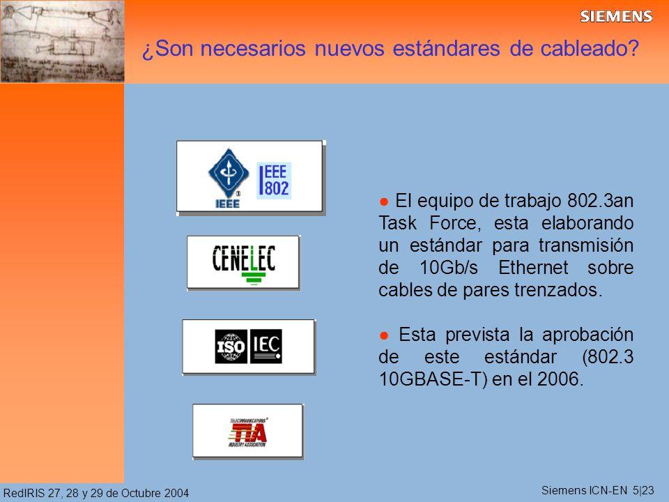 RedIRIS 27, 28 y 29 de Octubre 2004 El equipo de trabajo 802.3an Task Force, esta elaborando un estándar para transmisión de 10Gb/s Ethernet sobre cables de pares trenzados.